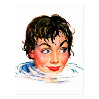 Retro Vintage Kitsch Keep Your Head Above Water Postcard
