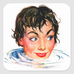 Retro Vintage Kitsch Keep Your Head Above Water Square Sticker