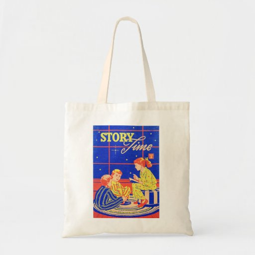 Retro Vintage Kitsch Kid Childrens Book Story Time Canvas Bag