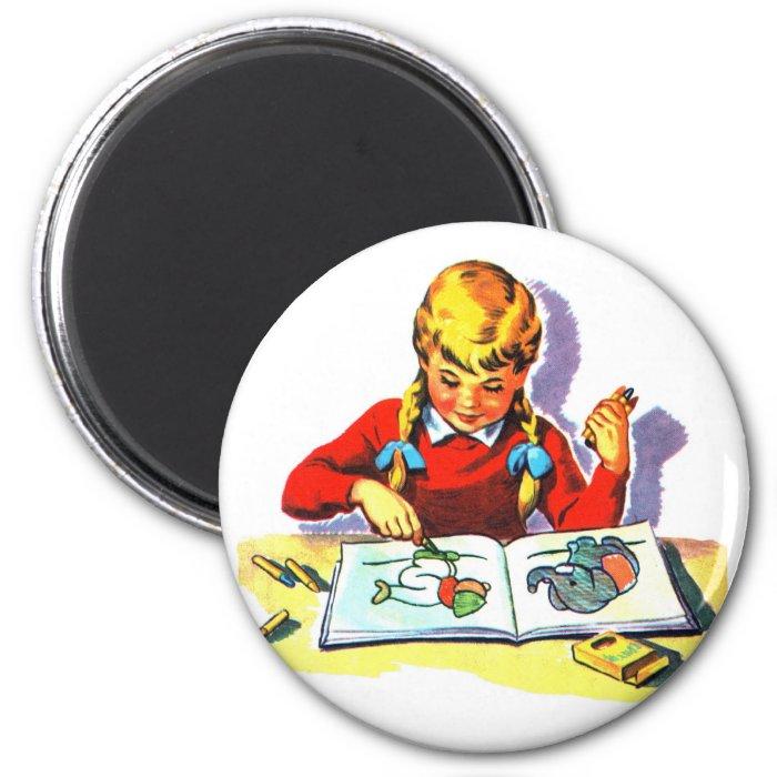 Retro Vintage Kitsch Kid School Book Arts & Crafts 2 Inch Round Magnet