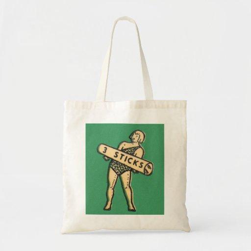 Retro Vintage Kitsch Kids 3 Sticks Chalk Box Art Budget Tote Bag