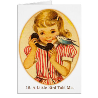 Retro Vintage Kitsch Kids A Little Bird Told Me Greeting Cards