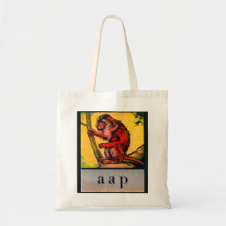 Retro Vintage Kitsch Kid's Alphabet Dutch aap Ape Tote Bag