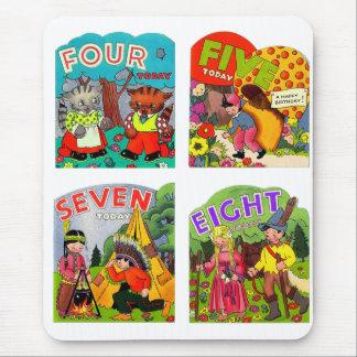 Retro Vintage Kitsch Kids Birthday Cards 4,5,7,8 Mouse Pad