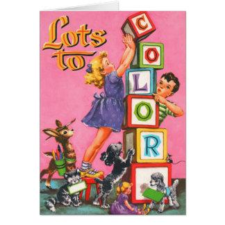 Retro Vintage Kitsch Kids Coloring Book Card