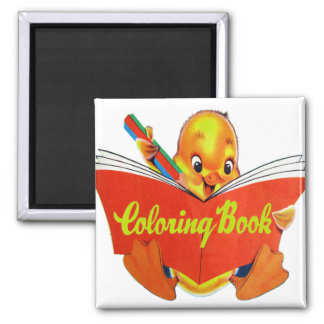 Retro Vintage Kitsch Kids Coloring Book Ducky Refrigerator Magnets
