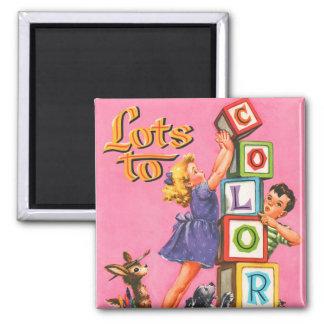 Retro Vintage Kitsch Kids Coloring Book Magnets