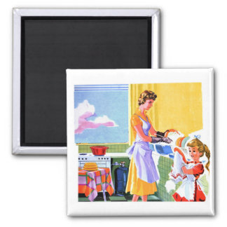 Retro Vintage Kitsch Kids Doing Dishes With Mom 2 Inch Square Magnet