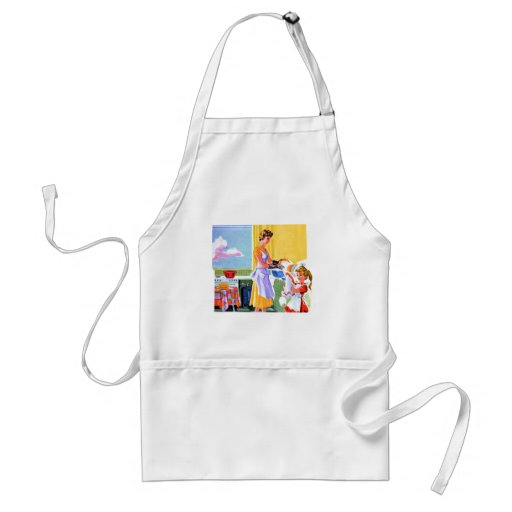 Retro Vintage Kitsch Kids Doing Dishes With Mom Adult Apron