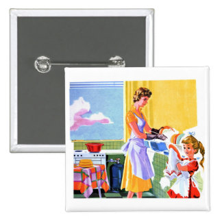 Retro Vintage Kitsch Kids Doing Dishes With Mom Button
