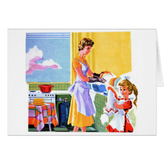 Retro Vintage Kitsch Kids Doing Dishes With Mom Card
