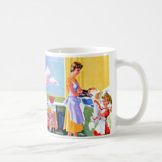 Retro Vintage Kitsch Kids Doing Dishes With Mom Coffee Mug