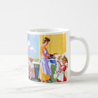 Retro Vintage Kitsch Kids Doing Dishes With Mom Coffee Mug