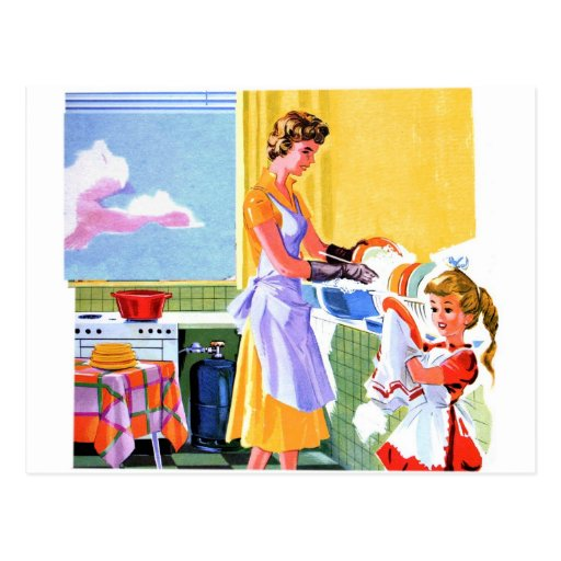 Retro Vintage Kitsch Kids Doing Dishes With Mom Post Card