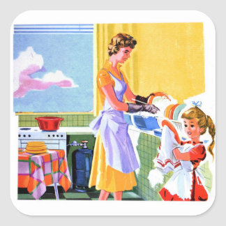 Retro Vintage Kitsch Kids Doing Dishes With Mom Square Sticker