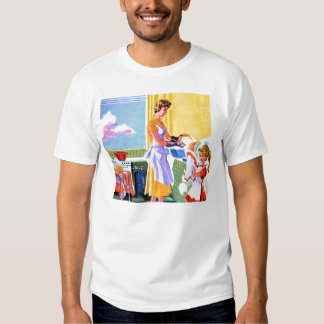 Retro Vintage Kitsch Kids Doing Dishes With Mom Tee Shirt