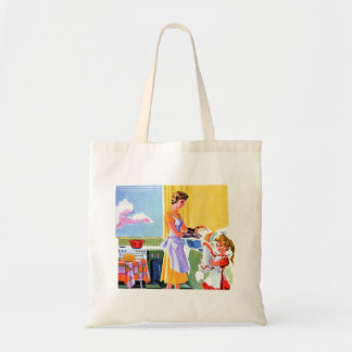 Retro Vintage Kitsch Kids Doing Dishes With Mom Tote Bag