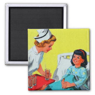Retro Vintage Kitsch Kids Getting Tonsils Out 2 Inch Square Magnet
