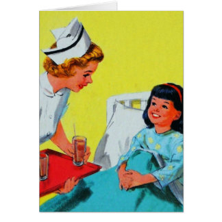 Retro Vintage Kitsch Kids Getting Tonsils Out Card
