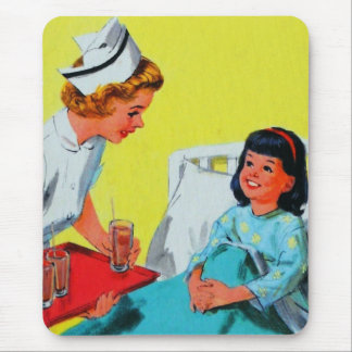 Retro Vintage Kitsch Kids Getting Tonsils Out Mouse Pad