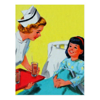 Retro Vintage Kitsch Kids Getting Tonsils Out Post Cards