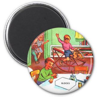 Retro Vintage Kitsch Kids School Book Toys Games Magnets