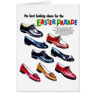 Retro Vintage Kitsch Kids Shoes Easter Parade Card