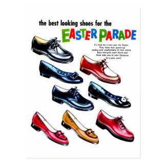 Retro Vintage Kitsch Kids Shoes Easter Parade Postcard