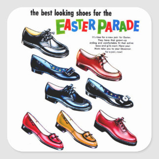 Retro Vintage Kitsch Kids Shoes Easter Parade Square Sticker