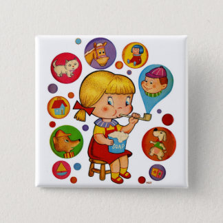 Retro Vintage Kitsch Kids Soap Bubbles Girl Button