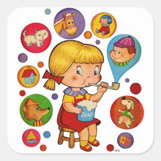 Retro Vintage Kitsch Kids Soap Bubbles Girl Square Sticker