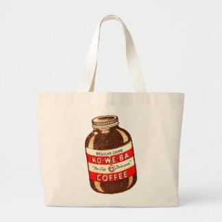 Retro Vintage Kitsch Ko-We-Ba Coffee Large Tote Bag