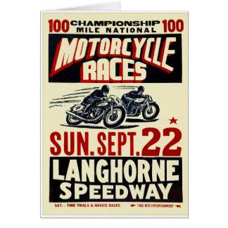 Retro Vintage Kitsch Langhorn Motorcycle Races Card