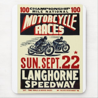 Retro Vintage Kitsch Langhorn Motorcycle Races Mouse Pad
