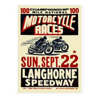 Retro Vintage Kitsch Langhorn Motorcycle Races Postcard