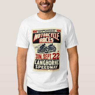 Retro Vintage Kitsch Langhorn Motorcycle Races Tee Shirt