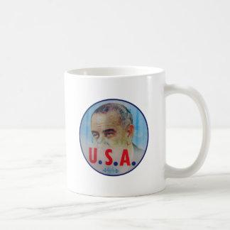 Retro Vintage Kitsch LBJ Flasher Poitical Button Coffee Mug