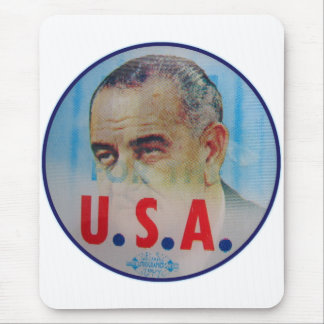Retro Vintage Kitsch LBJ Flasher Poitical Button Mouse Pad