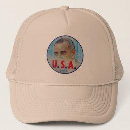 Lyndon johnson hats zazzle retro vintage kitsch lbj flasher poitical button trucker hat publicscrutiny Image collections