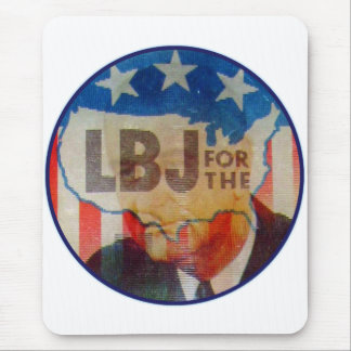 Retro Vintage Kitsch LBJ Flasher Political Button Mouse Pad