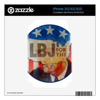 Retro Vintage Kitsch LBJ Flasher Political Button Skin For The iPhone 3GS