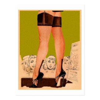 Retro Vintage Kitsch Lingerie Silk Stockings Postcard