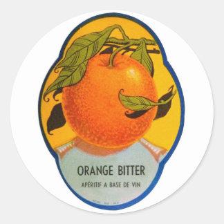 Retro Vintage Kitsch Liquor Orange Bitter Label Classic Round Sticker