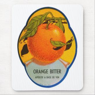 Retro Vintage Kitsch Liquor Orange Bitter Label Mouse Pad