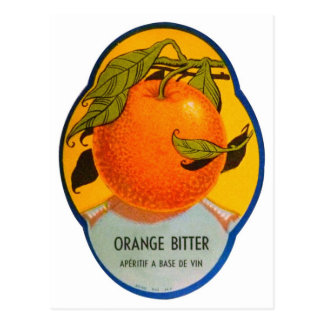 Retro Vintage Kitsch Liquor Orange Bitter Label Postcard