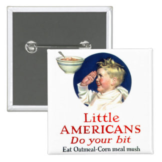 Retro Vintage Kitsch Little Americans Do Your Bit Pinback Buttons