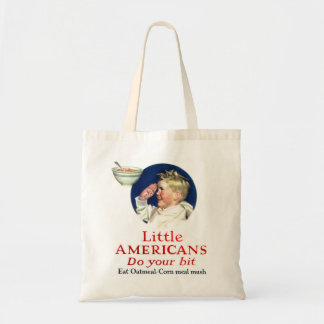 Retro Vintage Kitsch Little Americans Do Your Bit Tote Bag