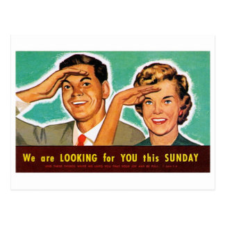 Retro Vintage Kitsch Looking for You on Sunday! Postcard