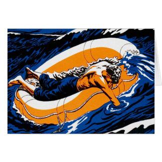 Retro Vintage Kitsch Lost at Sea Lifeboat Raft Card
