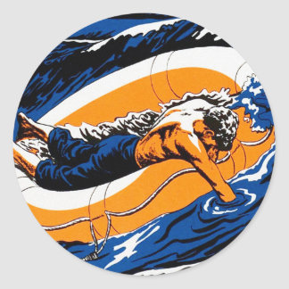 Retro Vintage Kitsch Lost at Sea Lifeboat Raft Classic Round Sticker